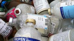 Strychnine cyanide was included among items of hazardous waste brought by farmers to a safe disposal collection event. Stock Image