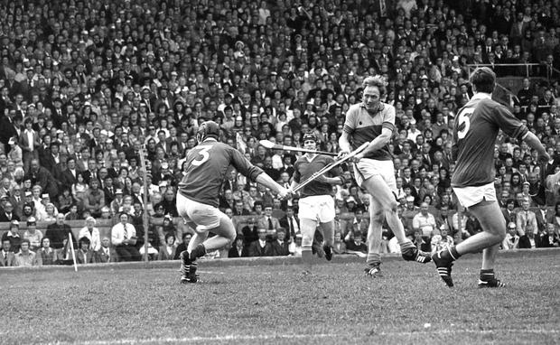 Tony Doran lets fly against Cork in the 1977 All Ireland hurling final against Cork