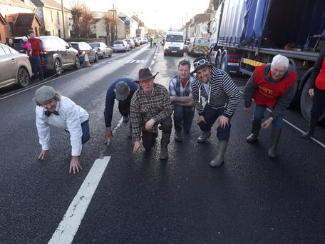 On their marks and ready to go in the Castlecomer Wellie Race on New Year's Day