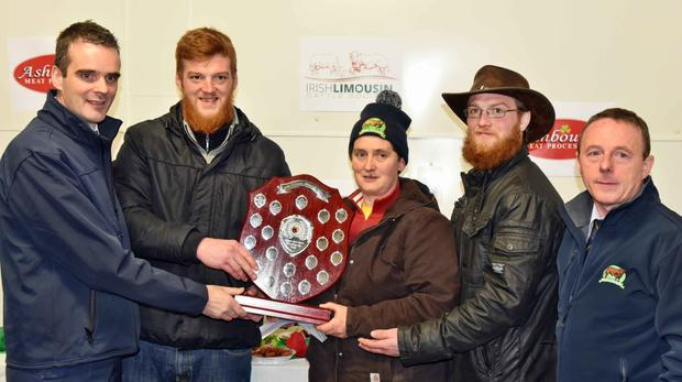 Sarah McElligott, South West Limousin Club accepting the O'Grady Memorial Shield for the overall award in the Limousin Carcass Competition at Ashbourne Meats, Roscrea on behalf of Timothy Corridon, Fedamore, Co Limerick, from John O'Grady with Joe Healy, IFA President, Thomas O'Grady and Paul Sykes, Secretary, Irish Limousin Cattle Society.