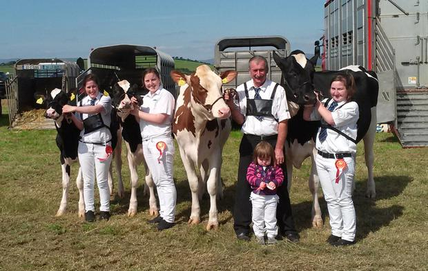 Three generations of the family exhibiting their stock, Peter Kennelly, Katie, Noreen and Marian and little Clodagh.