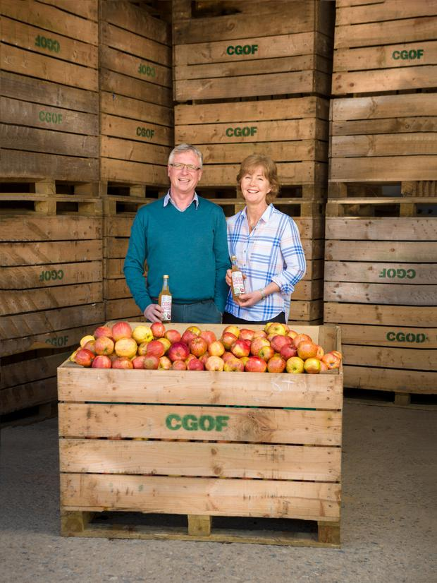 Richard and Sheila Galvin grow organic oats, oil seed rape and apples on their farm near Portlaw and have now diversified into apple cider production. Photo: Garrett Fitzgerald