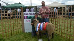 Ciaran Coughlan with judge Richie Allen at last year's Tullamore Show
