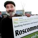 Hughie Duignan from Mount Allen, Co Roscommon pictured at a recent INHFA protest outside the Department of Agriculture offices in Drumshambo, Co Leitrim