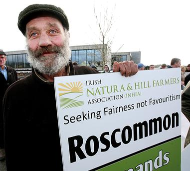 Hughie Duignan from Mount Allen, Co Roscommon pictured at yesterday's INHFA protest outside the Department of Agriculture offices in Drumshambo, Co Leitrim