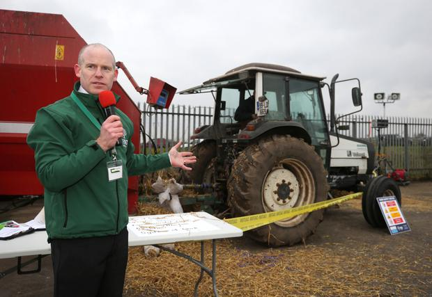 FBD advisor Ciaran Roche speaking to farmers at the Tegasc farm safety event in Flynn Machinery, Mullingar. Photo: Damien Eagers