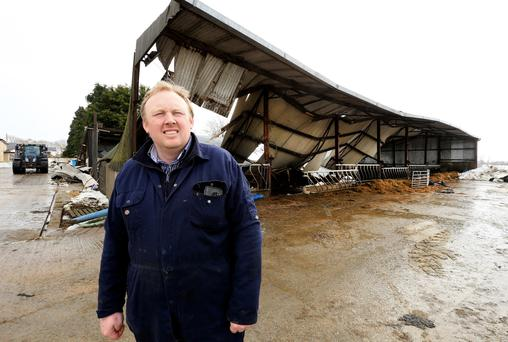 Karl Winters on his farm in Taghmon, Co Wexford where Storm Emma left a trail of destruction. Photo: Gerry Mooney