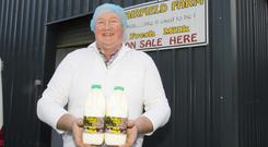 Nicky Doyle has built up a thriving business selling his own-brand milk into supermarkets and artisan food shops in the south-east. Photo: Mary Browne