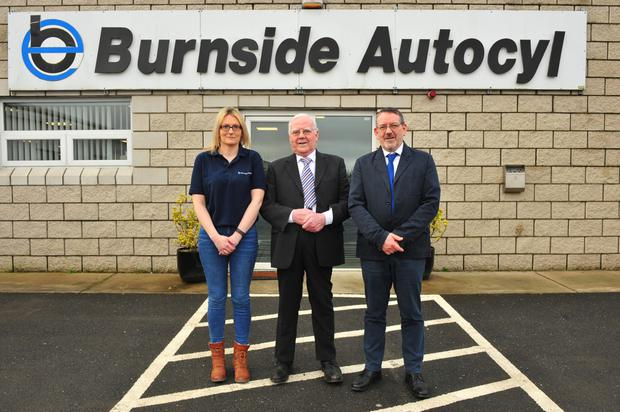 Three generations of the Byrne family are at the helm of the Burnside group of companies which employs over 1,000 here and in the US: Caroline Kelly, sales manager; Paddy Byrne, chairman and Pat Byrne, managing director. Photo: Roger Jones