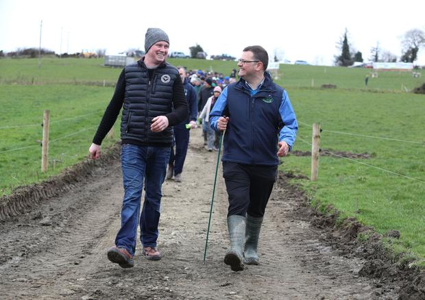 Gordon Peppard (right), Teagasc Calf to Beef Programme Advisor, and Pat Bowden lead the way at the farm walk on Pat's holding in Lisdowney, Co Kilkenny PHOTO: Damien Eagers