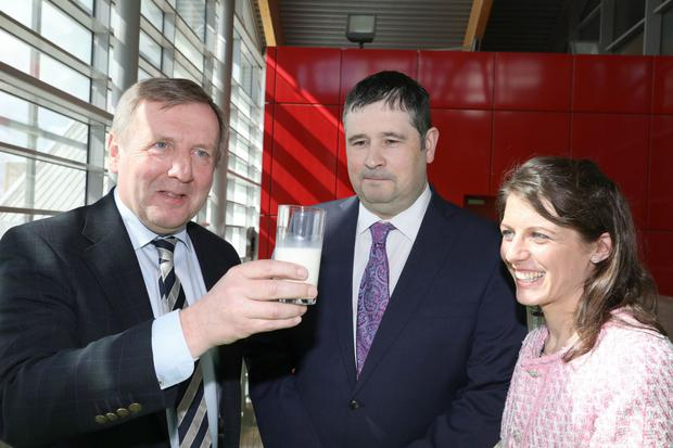 Glass half full? Agriculture Minister Michael Creed, Dr Michael Wallace and Aoife Byrne, UCD, at the UCD Brexit event. Photo: MacInnes Photography