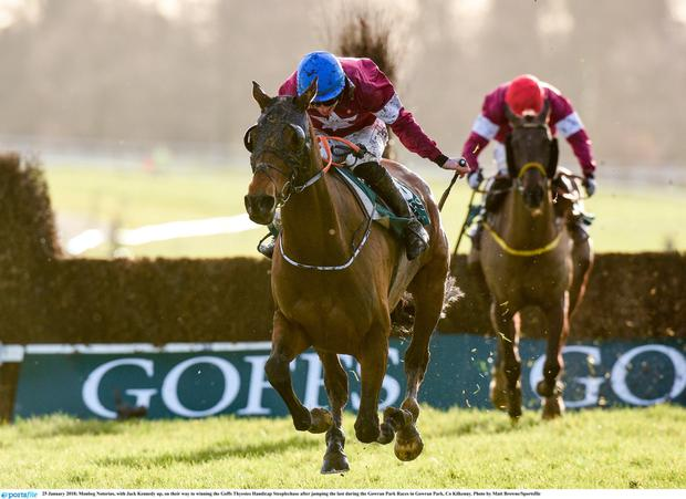 The graduates of Monbeg Stables include Monbeg Notorious, seen here on his way to winning this year's Thyestes Chase in Gowran Park under Jack Kennedy. Photo: Matt Browne/Sportsfile