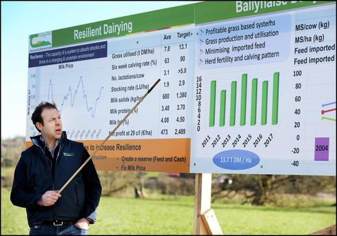 Teagasc advisor Donal Patton speaking at the Ballyhaise Agricultural College Open Day. Photo: Steve Humphreys