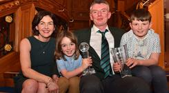 Garrett Landers with wife Fiona and children Paraic, 7, and Michael, 10 at the World Butchers' Challenge Gala event