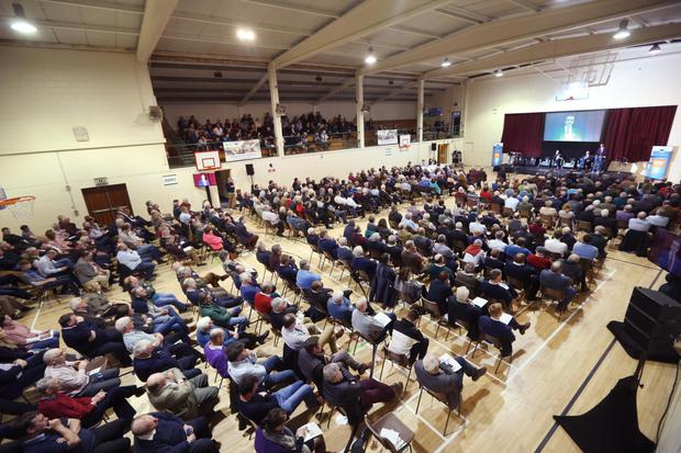 IFA President Joe Healy speaks to packed hall at an IFA-EU Citizens Dialogue on the Future of CAP in O'Loughlin Gaels GAA Club in Kilkenny City.