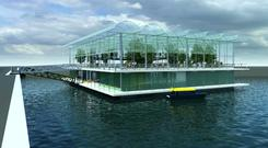 An artist's impression of what the floating farm will look like.