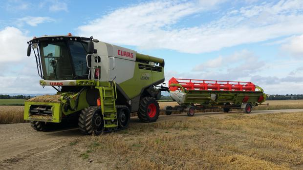 Combining is done with a 162-plated Claas Lexion 760 on Terra-Tracs