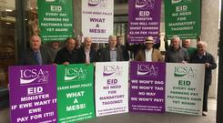 ICSA members took their campaign on the EID and the clean sheep policy to the Department of Agriculture offices in Kildare Street, Dublin
