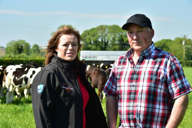 Kathryn Kenneally of Dairy Direct and Tommy Egan from Ballykeeffe, Co Kilkenny. Photo: Roger Jones