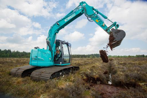 One of Bord na Mona's new machines carrying out rewetting work at Clonwhelan Bog, Edgeworthstown, Co Longford. Photo: Jeff Harvey