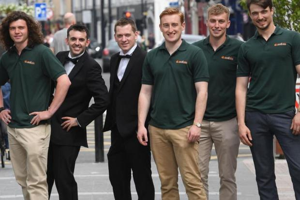 Nicholas Corcoran (left) with fellow farmers who will be escorts for the Rose of Tralee