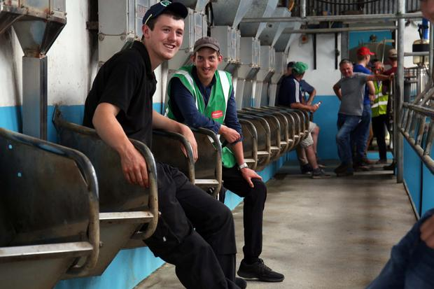Liam Burke and Andrew Myles from Ballylooby, pictured at an annual Farm Walk hosted by Teagasc. The seminar and farm walk was held on the Walsh Family Farm in Cahir, Co Tipperary, who were the overall winners in last years NDC and Kerrygold Quality Milk Awards 2017. Picture: Clare Keogh