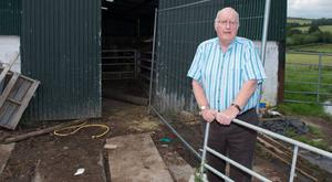 Farmer Ronnie Hazlett at the scene where he and his son George were involved in a slurry accident.