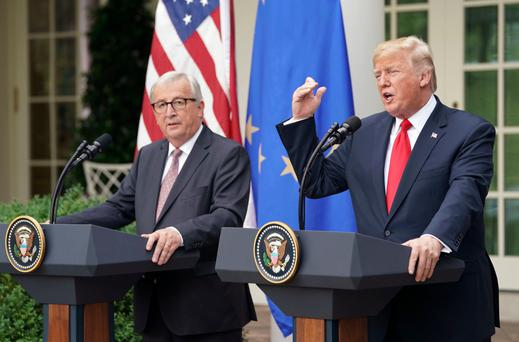 US President Donald Trump and European Commission president Jean-Claude Juncker in the Rose Garden of the White House after agreeing to talks on a new trade deal. (AP Photo/Pablo Martinez Monsivais)