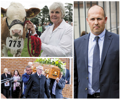 Thelma Gorman and (far right) her nephew Gareth Gibson at yesterday's inquest. Centre: Thelma was a successful exhibitor at agricultural shows, and (below) her funeral in Armagh last September.