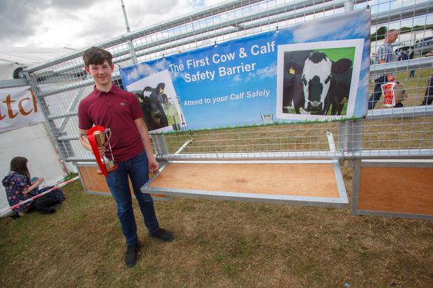 Eoin McLoughlin (Trim, Meath) with his winning entry to the Student Class of the National Inventions Competition at the Tullamore Show and FBD National Livestock Show. Picture: Jeff Harvey