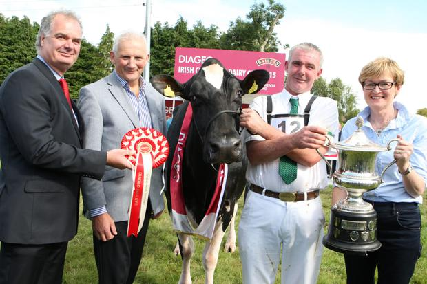 Pictured at the 2015 Diageo Baileys Champion Dairy Cow Competition at the Virginia Show, Co. Cavan is the winning breeder John Barrett from Togher Co. Cork with from left the competition sponsors Breffni O'Reilly of Diageo; Henry Corbally, Glanbia Ingredients and special guest Mairead McGuinness MEP.