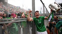 Kyle Hayes of Limerick celebrates following the GAA Hurling All-Ireland Senior Championship Final between Galway and Limerick at Croke Park in Dublin. Photo by Stephen McCarthy/Sportsfile
