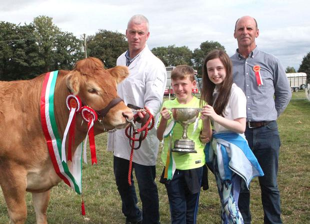 The Overall Beef Champion of the show at Cappamore, Co Limerick, with John McInerney of Bunratty (exhibitor), Sean and Sarah McInerney and judge Richard O'Beirne from Tuam