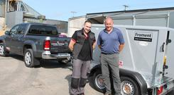 Adam McDonald DTE-Systems (left) with Barth Landy, General Manager at the Cooney Furlong Machinery Company, Enniscorthy