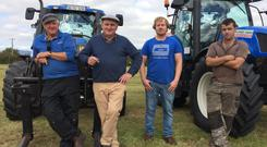 Taking a break from baling silage are Jerry Ryan, Clogheen, Jim and Thomas Moloney Directors of Moloney Agri, and Stephen Ryan, Dunmanway, Cork.