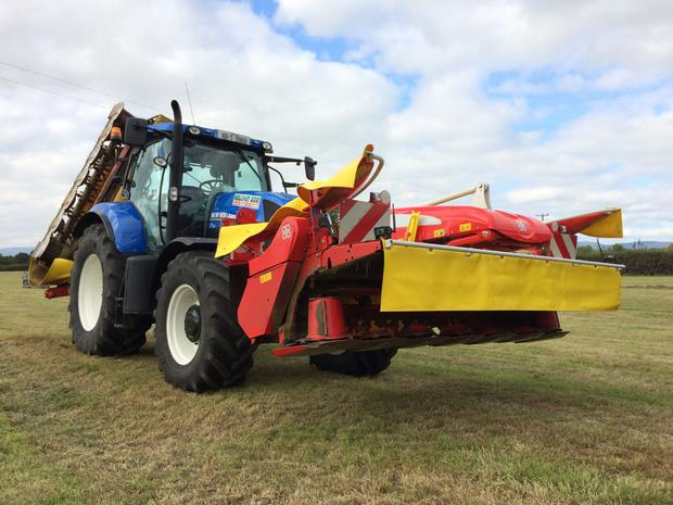 Mowing is looked after with a Pottinger ProGlide front mower and Alpha Motion rear mower combination.