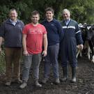 John Coakley Snr; John Coakley, Thomas Coakley and Pat Fanning on the Old Carton Farm, Maynooth, Co Kildare. Photo: Tony Gavin