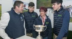 Pictured on the Fresh Graze stand at last month's National Ploughing Championships were (l-r) Damien Dempsey, UCD Ag Science and Food Dept; Maura Canning, Galway IFA; and Charlie and James Drumm, who won an award for best agri start-up innovation