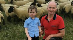 Eamonn Duffy with his son, Thomas and some of their Suffolk Flock at Kells, Co Meath.