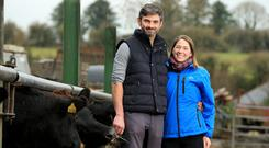 Farmer of the Year 2018 Gillian O'Sullivan with her husband Neil on their farm in Dungarvan, Co Waterford. Photo: Gerry Mooney