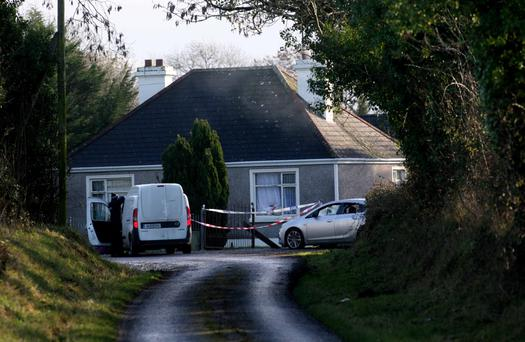 The scene at the residential farm in Falsk outside Strokestown, Co Roscommon where security personnel were attacked on Sunday morning. Photo: Brian Farrell