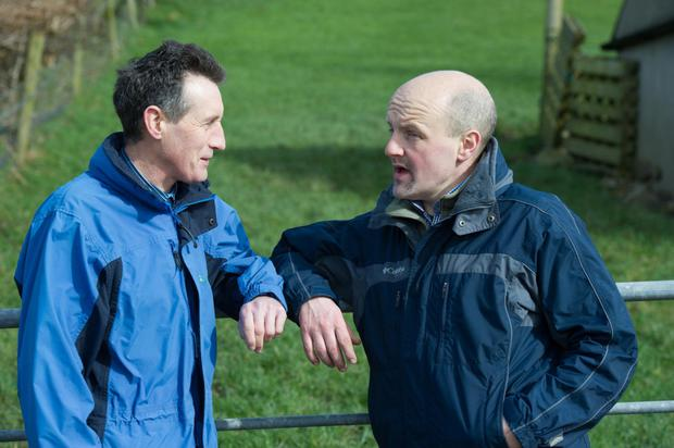 Teagasc advisor John Cannon and Michael Duffy on Michael's farm in Kerrykeel, Co Donegal
