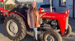 Caitlin with her Massey Ferguson