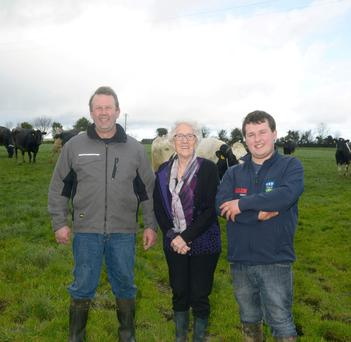 Vivian, Hazel and Evan Buttimer pictured on the 'Ford Farm' near Clonakilty, Co Cork PHOTO: DENIS BOYLE
