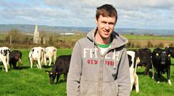 Paul Brenan on the family farm in Carlow where the switch from beef and sheep to dairy is underway. Photo: Roger Jones