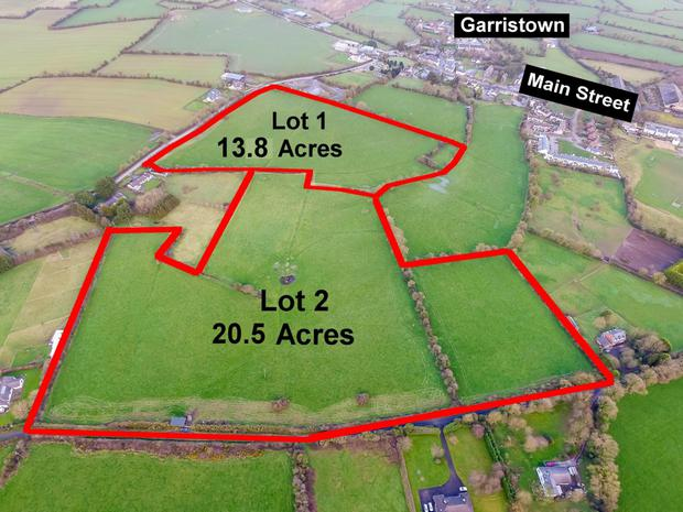 The two parcels of land in Garristown are being guided at €14,000 an acre