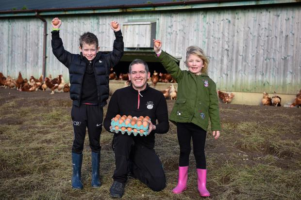 David Butler with his children Noel (8) and Kate (7)