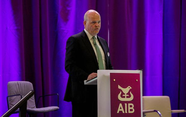 Concession: AIB chief Colin Hunt CEO at yesterday's AGM at the Ballsbridge Hotel, Dublin. Photo: Gareth Chaney Collins