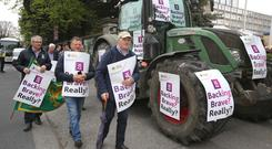 The IFA staged a protest outside the AIB AGM last Wednesday. Photo: Finbarr O'Rourke