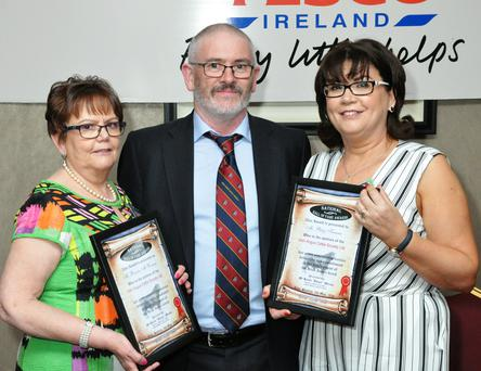 Breda McWeeney and Patsy Keenan, Irish Angus Cattle Society after receiving their awards with John O'Sullivan, President, Irish Angus Cattle Society.